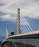 Sky Train Bridge. A rapid transit commuter on Canada Line Bridge royalty free stock images