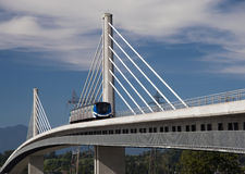 Sky Train Bridge. A rapid transit commuter on Canada Line Bridge stock image