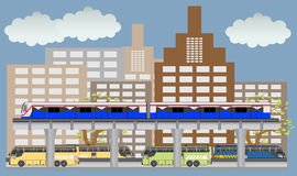 Sky train and bus vector, Bangkok Thailand. Stock Photos