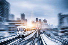 Sky train through the city center in Kuala Lumpur,motion blur.  Stock Images