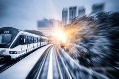 Sky train through the city center in Kuala Lumpur,motion blur Royalty Free Stock Photos