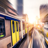 Sky train through the city center in Kuala Lumpur,motion blur Stock Photos