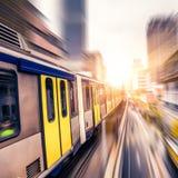 Sky train through the city center in Kuala Lumpur,motion blur.  Stock Photos