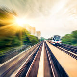 Sky train through the city center in Kuala Lumpur,motion blur Stock Photography