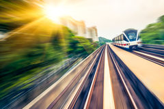 Sky train through the city center in Kuala Lumpur,motion blur Royalty Free Stock Photo