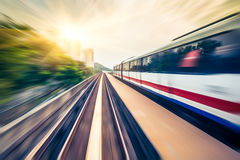 Sky train through the city center in Kuala Lumpur,motion blur Stock Photo