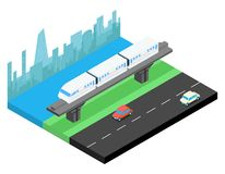 Sky train and city skyline isometric illustration Royalty Free Stock Photography