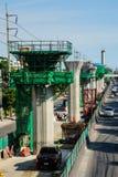Sky train construction. BANGKOK - SEPTEMBER 9 : Construction site of BTS Sky Train Railway Green line Extension, September 9, 2014 Royalty Free Stock Image