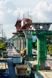 Sky train construction. BANGKOK - SEPTEMBER 9 : Construction site of BTS Sky Train Railway Green line Extension, September 9, 2014 Royalty Free Stock Photos
