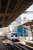 The sky train enters a station. In Bangkok Royalty Free Stock Photography