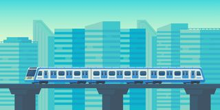 Sky train moving to station in city. Mass rapid transit system. Vector flat illustration. Sky train moving to station in city. Mass rapid transit system. Public royalty free illustration