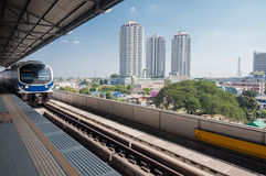 Sky train station in Bangkok and city view. Sky train station in Bangkok Royalty Free Stock Photos