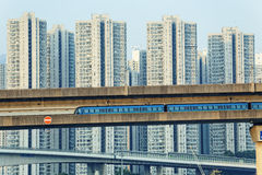 Sky train and track system in a modern neighborhood Stock Photos