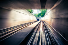 Sky train through the tunnel,motion blur.  Royalty Free Stock Images