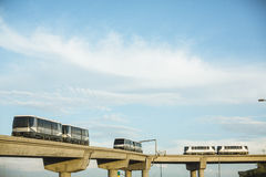 Sky trains traveling on rails to Phoenix Sky Harbor Airport Royalty Free Stock Photography