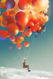 Sky traveller,man floating with colorful balloons in a sky vector illustration