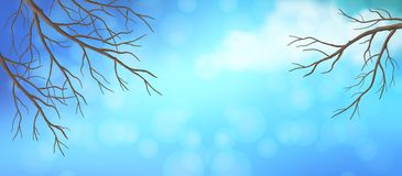 Sky Tree Branches Panoramic Banner. Vector panoramic banner. Blue sky with white cloud and bare tree branches Stock Photos
