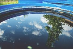 Sky and tree reflection in the water. Vintage look Stock Images