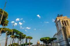 Sky and trees of Rome. Next to the Trajan's market and Altar of the Fatherland (Altare della Partia) before sunset Royalty Free Stock Photos