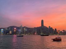 Nightfall in Hong Kong stock photos