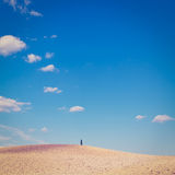 Sky of Tuscany. Plowed Sloping Hills under the Sky of Tuscany in the Autumn, Italy, Instagram Effect Stock Photography