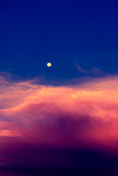 Sky in twilight time with moon Stock Photo