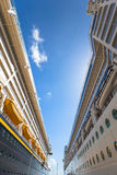The sky between two cruise ships. View of the sky between two cruise ships royalty free stock images