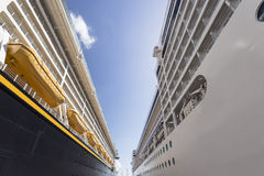 The sky between two cruise ships. View of the sky between two cruise ships stock images