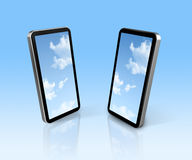 Sky on two mobile phones Stock Images