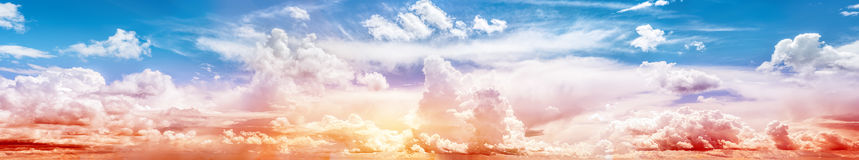Sky ultramarine rainbow art panorama. Summer sunrise Stock Photos