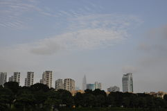 The sky. Under the sky of tall buildings and trees Royalty Free Stock Photography