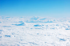 Sky upside down. Sky visible from a plane Stock Photos