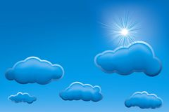 Sky (vector). Illustration of open sky with clouds and sunbeam, in blue and white Stock Photos