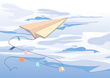 Sky. Vector illustration of paper flight. Solid fill only no gradients, no gradient mech Royalty Free Stock Images