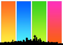 Sky view. Vector style, panorama of the city with four color gradient Stock Photography