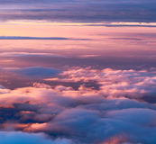 Sky view from above. Sky and clouds image taken form above while flying in a plane Stock Photos