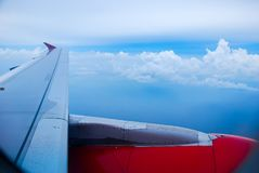 Sky view from airplane. Aerial view from windows. Transportation Concept Stock Images