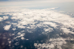 Sky view from airplane window Stock Image