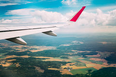 Sky view from airplane window. The window seen Royalty Free Stock Photos