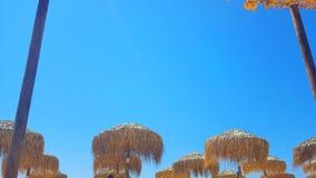 Sky view on a beautiful beach, Skiathos island, Greece, umbrellas Stock Image