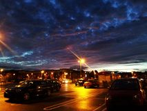 Sky. View of the car-park and beautiful sky Royalty Free Stock Photo