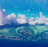 Sky View of Caribbean Land and Water  from the Window Seat Stock Photos