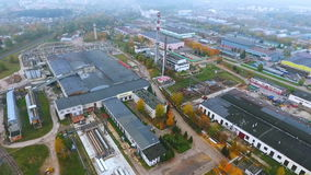 Sky view industrial factory. Manufacturing area in industrial city drone view stock video