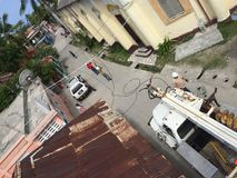 From the sky. View from my bucket truck on a summer day Stock Image