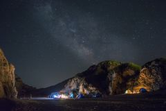 Sky view at night. From a beach in volos. Milky way and stars stock images