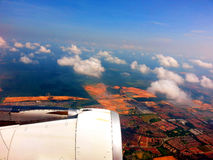 Sky View, Plane Wing Royalty Free Stock Images