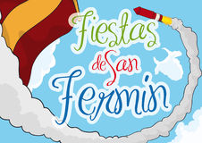 Sky View with Rocket and Spain Flag for San Fermin, Vector Illustration. Commemorative design for Festival of San Fermin -written in Spanish- with sky view with Stock Photo