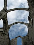 Sky view through the ruins of Convent of Our Lady of Mount Carmel royalty free stock image