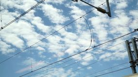 Sky view from a window running train stock video