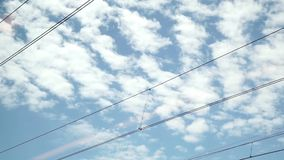 Sky view from a window running train stock footage